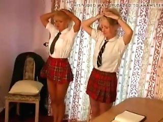 Two School Gals Caned On Their Barebottoms For Misbehaving In Class